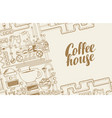 banner with a conveyor coffee production vector image