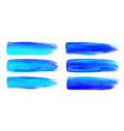 blue watercolor brush strokes canvas texture vector image
