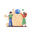 boy and girl holding blockchain cubes vector image vector image