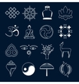 Buddhism icons set outline vector image