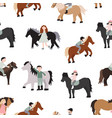 cartoon characters kids riding ponies seamless vector image vector image