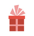 christmas gift box with ribbon bow vector image vector image