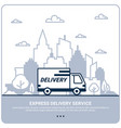 city delivery concept thin line styled delivery vector image vector image