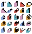 Collection flat icons with long shadow Car symbols vector image vector image