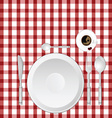 cup of coffe hot on tablecloth vector image