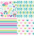 cute baby girl patterns set vector image