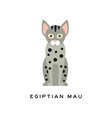 cute egyptian mau cat medium-sized short-haired vector image vector image