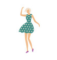 dancing woman in dress with polka dot print vector image vector image