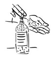 disinfection concept washing hand with sanitizer vector image vector image