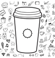 doodle coffee cup with objects hand drawn vector image vector image