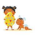 easter kids in bunny ears with decorative egg vector image