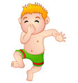 funny little boy in swimsuit holding his nose vector image vector image