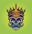 gold crown angry skull mustache with weed vector image vector image
