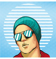 guy young handsome fancy in hat and sunglasses vector image