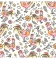 hand drawn rooster seamless pattern chinese new vector image vector image
