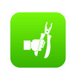hand holding chisel icon digital green vector image