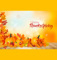 happy thanksgiving background with autumn vector image vector image