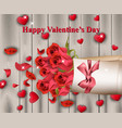 happy valentines day realistic card with vector image vector image