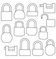 Icons of locks from thin lines