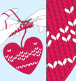 knit heart vector image