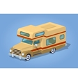 Low poly brown motor home vector image vector image