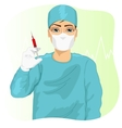 male doctor surgeon or nurse in face mask vector image