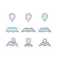 navigation map and pin icons vector image vector image