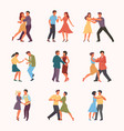 paired dancing set woman with man circle vector image