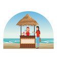 peoplea at beach kiosk vector image