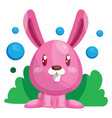 pink easter rabbit sitting in green grass web on vector image