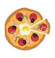 pizza with one cut piece on a white background vector image vector image