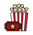 popcorn and ticket isolated icon vector image vector image