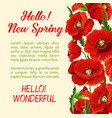poster of poppy flowers hello spring quote vector image vector image