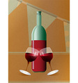 Red wine bottle and glasses over brown paper vector image vector image
