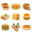 sandwiches icons set vector image vector image