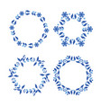 scandinavian style blue wreath set vector image