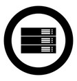 server black icon in circle isolated vector image vector image