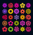set of bright color flower icons in flat style vector image