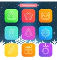 Set of flat outlined Christmas icons on white vector image vector image