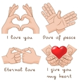 Set of hands depict the enternal love and peace vector image