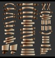 set of metalic bronze ribbons badges and label vector image vector image