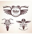 set of vintage motorcycle labels badges vector image