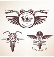 set vintage motorcycle labels badges and vector image
