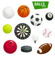 sport balls and game items icons set vector image