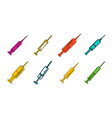 syringe icon set color outline style vector image