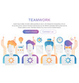 team work trendy flat gradient color poster vector image