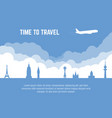 travel banner with plane vector image vector image