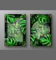 tropical bright green monstera leaves vector image