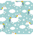 unicorn jumping cloud star in sky seamless vector image vector image