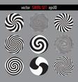 various circular monochrome twirls vector image